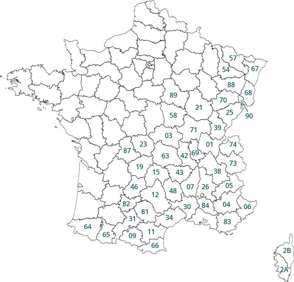 Carte des départements concernés par la nouvelle loi